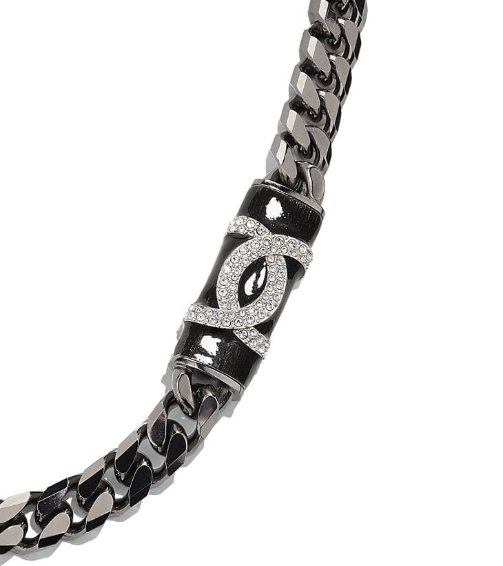 image 3 - Necklace - Metal & Strass - Ruthenium, Black & Crystal