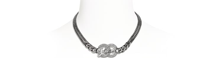 image 1 - Necklace - Metal & Strass - Ruthenium & Crystal