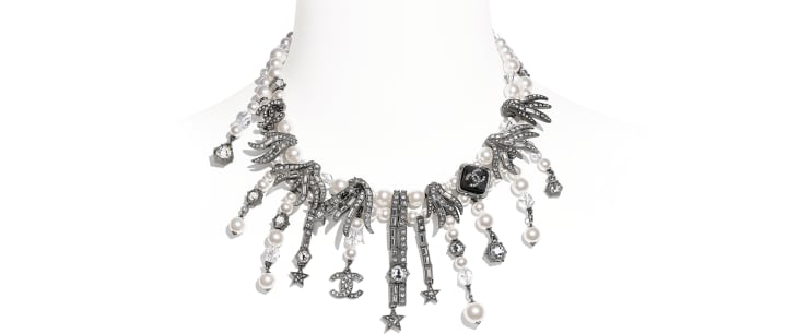 image 1 - Necklace - Metal, Glass Pearls, Glass & Strass - Ruthenium, Pearly White, Black & Crystal
