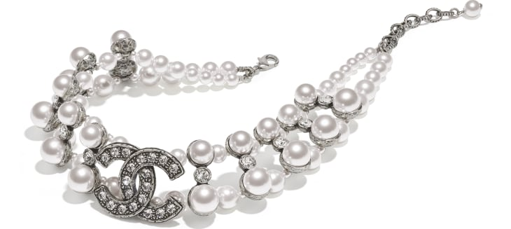 image 2 - Necklace - Metal, Glass Pearls & Strass - Silver, Pearly White & Crystal