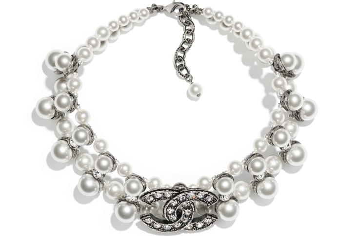 image 1 - Necklace - Metal, Glass Pearls & Strass - Silver, Pearly White & Crystal