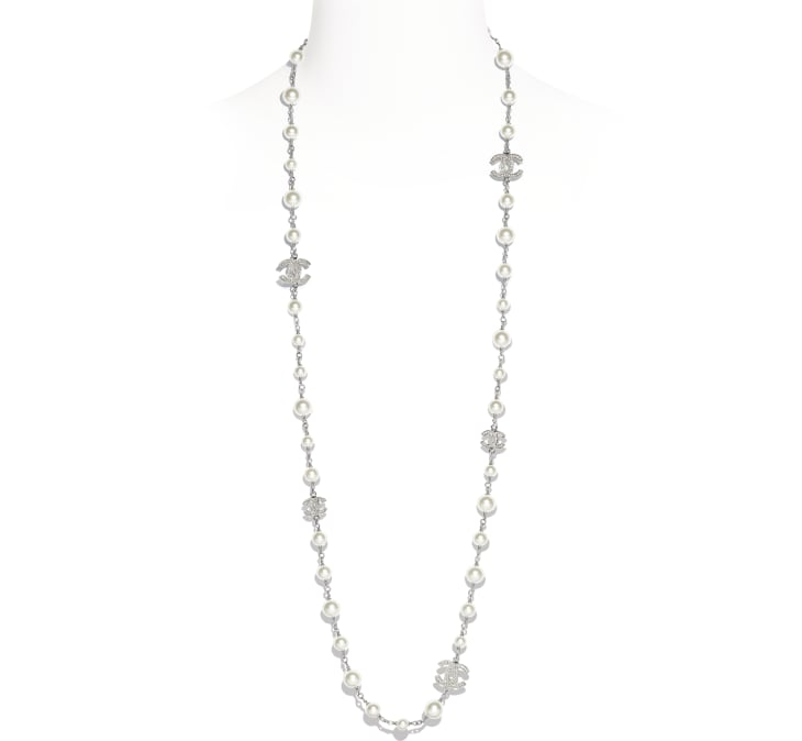image 1 - Necklace - Metal, Glass & Strass - Silver & Pearly White