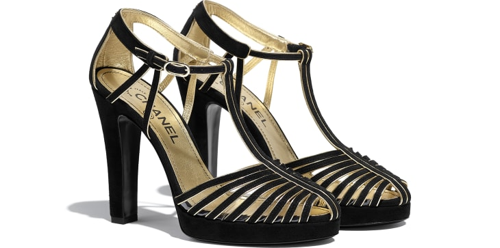 image 2 - Open Shoes - Suede Kidskin - Black & Gold