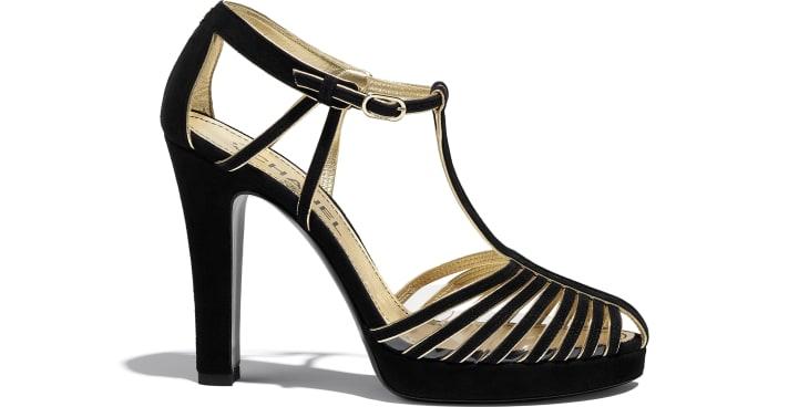 image 1 - Open Shoes - Suede Kidskin - Black & Gold