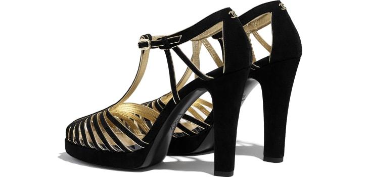 image 3 - Open Shoes - Suede Kidskin - Black & Gold