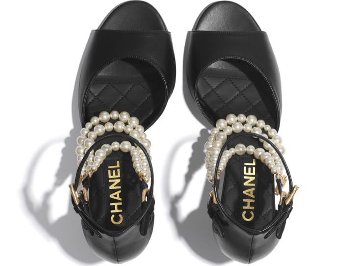 image 3 - Open Shoes - Lambskin & Pearls - Black