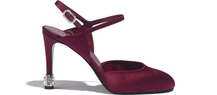 image 1 - Open Shoes - Satin - Burgundy