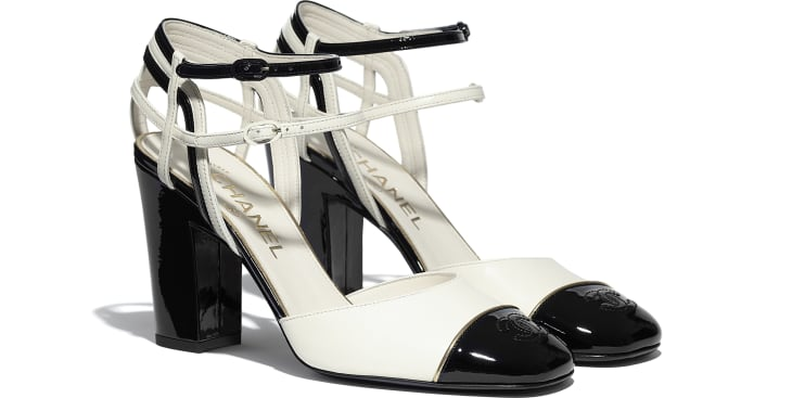 image 2 - Open Shoes - Lambskin & Patent Calfskin - Ivory & Black