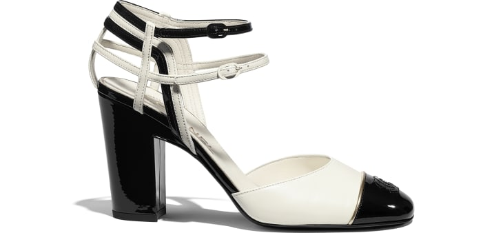 image 1 - Open Shoes - Lambskin & Patent Calfskin - Ivory & Black