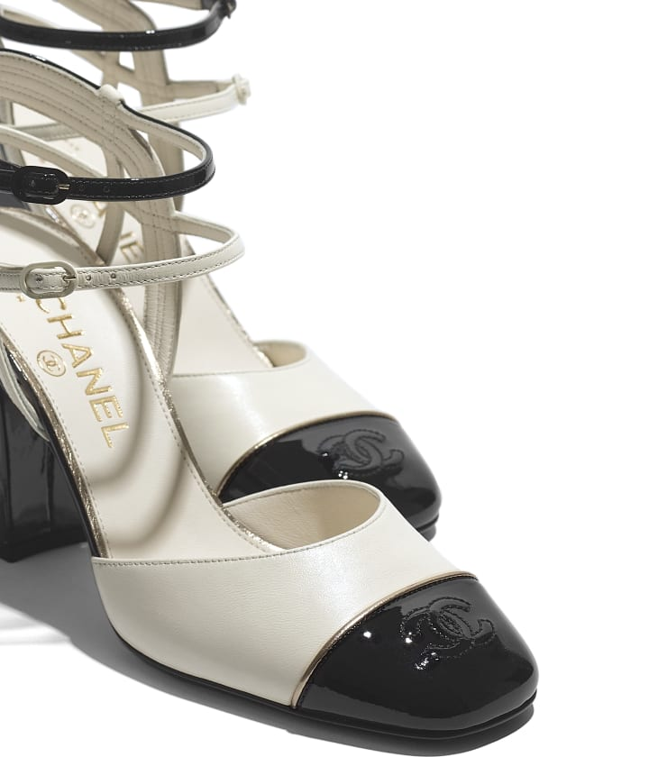 image 4 - Open Shoes - Lambskin & Patent Calfskin - Ivory & Black