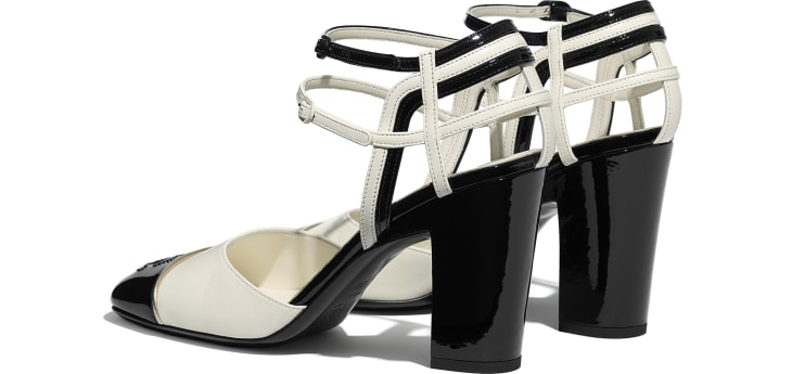 image 3 - Open Shoes - Lambskin & Patent Calfskin - Ivory & Black
