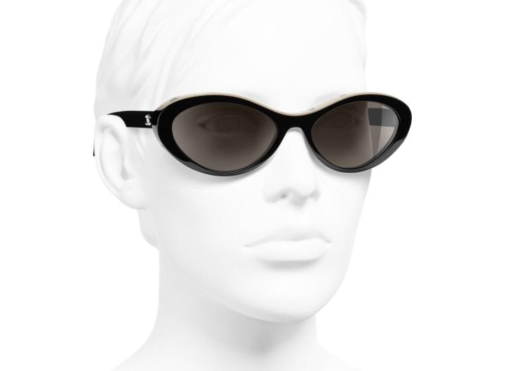 image 6 - Óculos De Sol Ovais - Acetato - Preto & Bege