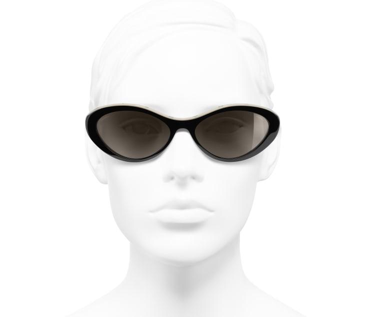 image 5 - Óculos De Sol Ovais - Acetato - Preto & Bege