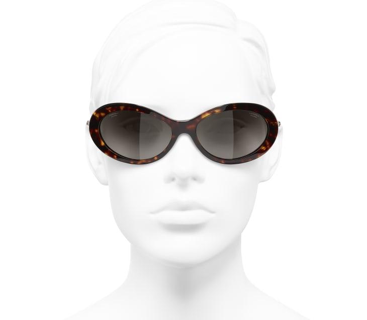 image 5 - Óculos De Sol Ovais - Acetato & Pérolas Esmaltadas - Tartaruga Escura