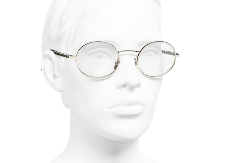 image 6 - Oval Sunglasses - Metal & Calfskin - Gold