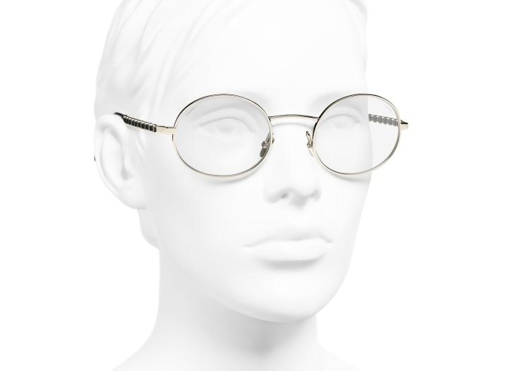 image 6 - Oval Sunglasses - Metal & Lambskin - Gold