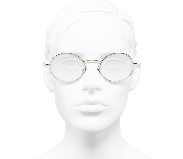 image 5 - Oval Sunglasses - Metal & Lambskin - Gold