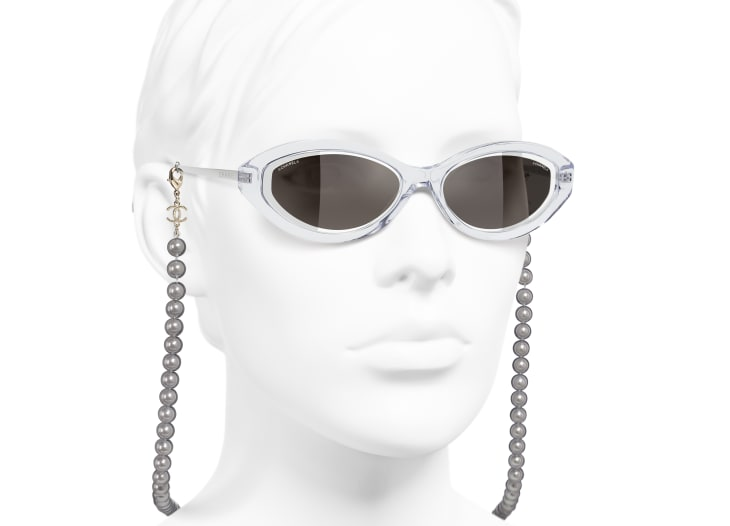 image 6 - Oval Sunglasses - Metal, Acetate, Resin & Glass Pearls - Transparent