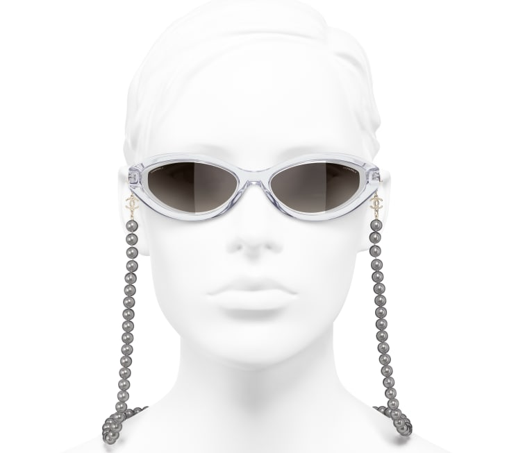 image 5 - Oval Sunglasses - Metal, Acetate, Resin & Glass Pearls - Transparent