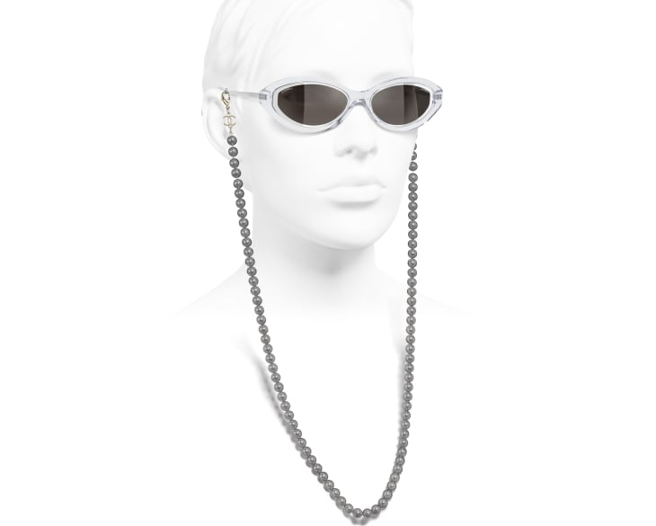 image 7 - Oval Sunglasses - Metal, Acetate, Resin & Glass Pearls - Transparent