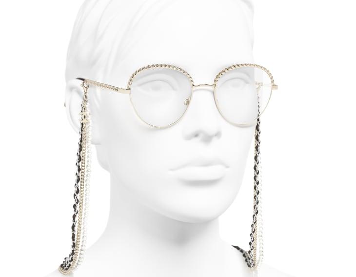 image 6 - Óculos Pantos - Metal, Couro de novilho & Pérolas de resina - Dourado