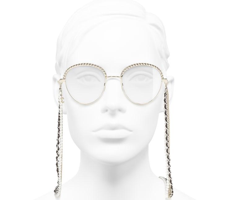 image 5 - Óculos Pantos - Metal, Couro de novilho & Pérolas de resina - Dourado
