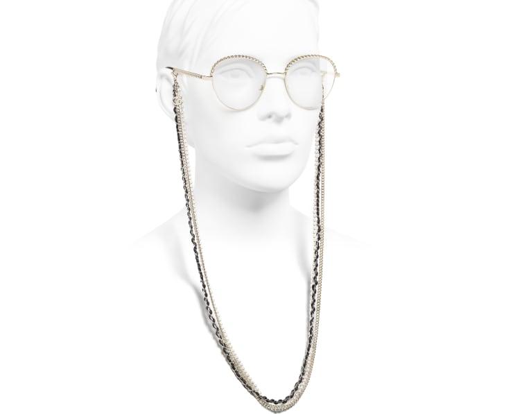 image 7 - Óculos Pantos - Metal, Couro de novilho & Pérolas de resina - Dourado