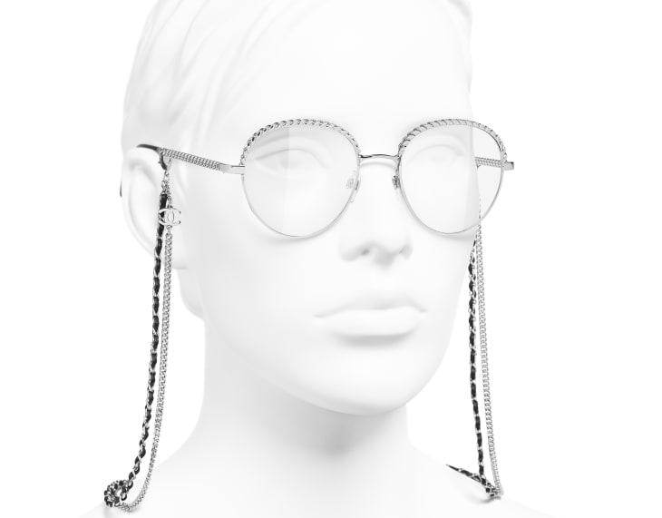 image 6 - Pantos Eyeglasses - Metal & Calfskin - Silver