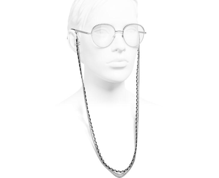 image 7 - Pantos Eyeglasses - Metal & Calfskin - Silver