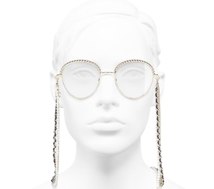 image 5 - Pantos Sunglasses - Metal, Calfskin & Imitation Pearls - Gold