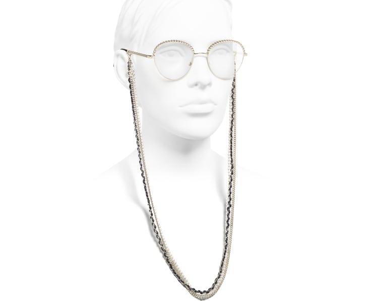 image 7 - Pantos Sunglasses - Metal, Calfskin & Imitation Pearls - Gold