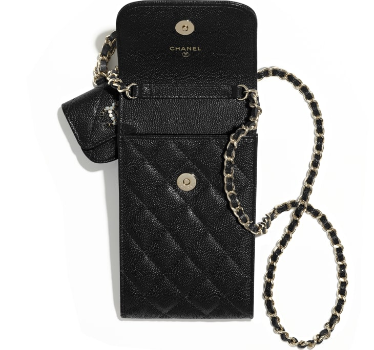image 2 - Phone & Airpods Case with Chain - Grained Calfskin & Laquered Gold-Tone Metal - Black