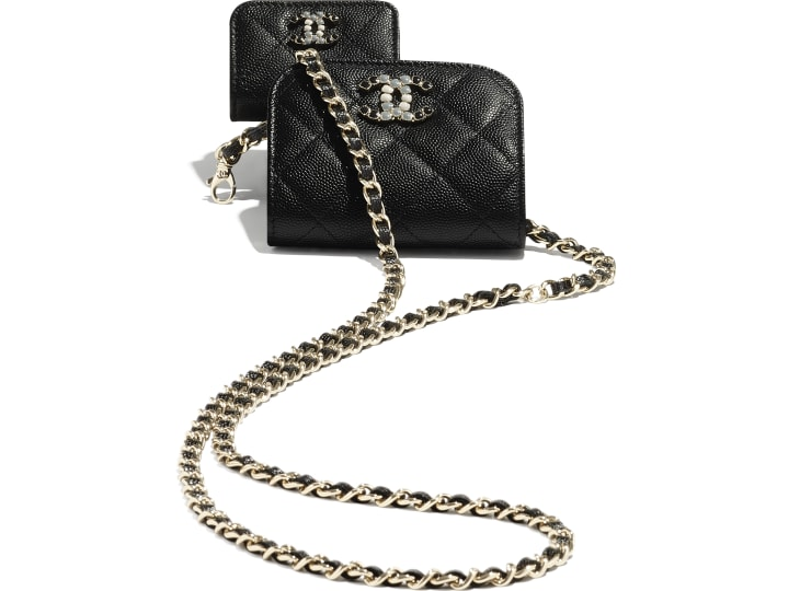 image 3 - Phone & Airpods Case with Chain - Grained Calfskin & Laquered Gold-Tone Metal - Black