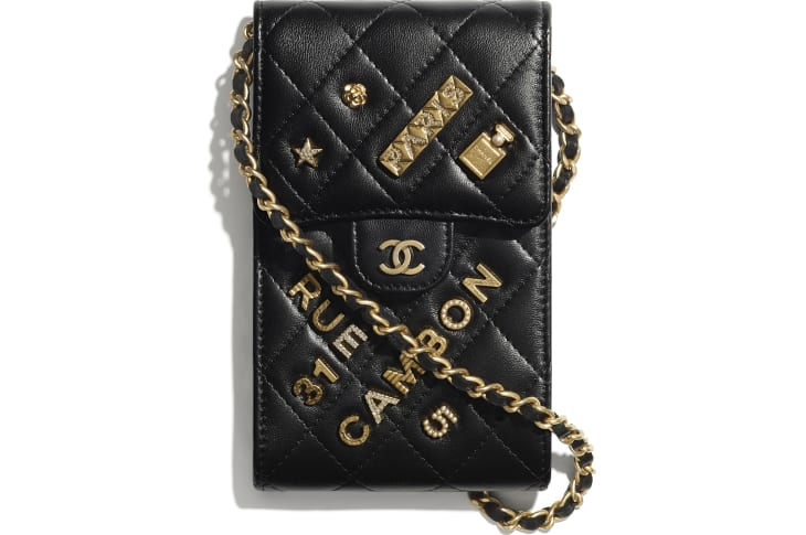 image 1 - Phone Holder with Chain - Lambskin & Gold-Tone Metal - Black