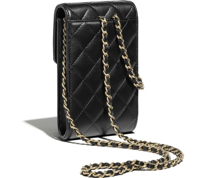 image 4 - Phone Holder with Chain - Lambskin & Gold-Tone Metal - Black