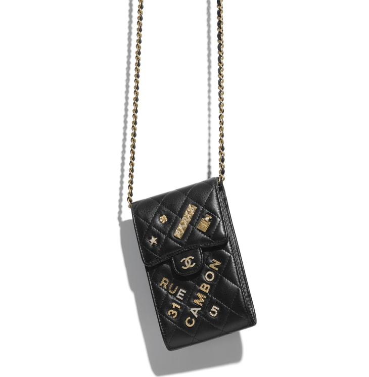 image 3 - Phone Holder with Chain - Lambskin & Gold-Tone Metal - Black