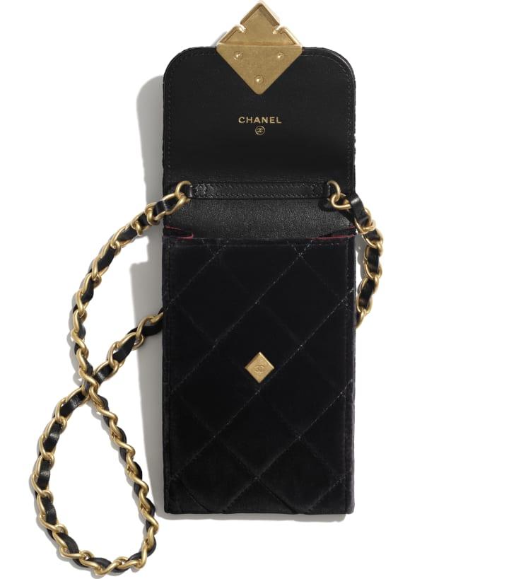 image 2 - Phone Holder with Chain - Velvet, Strass & Gold-Tone Metal - Black