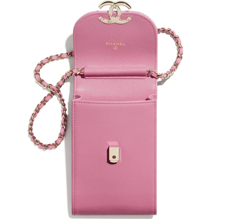 image 2 - Phone Holder with Chain - Grained Calfskin & Gold-Tone Metal - Pink