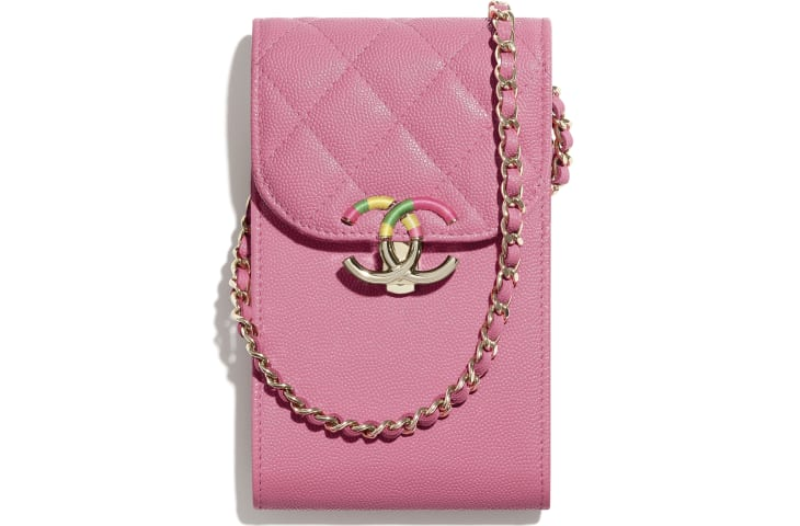 image 1 - Phone Holder with Chain - Grained Calfskin & Gold-Tone Metal - Pink