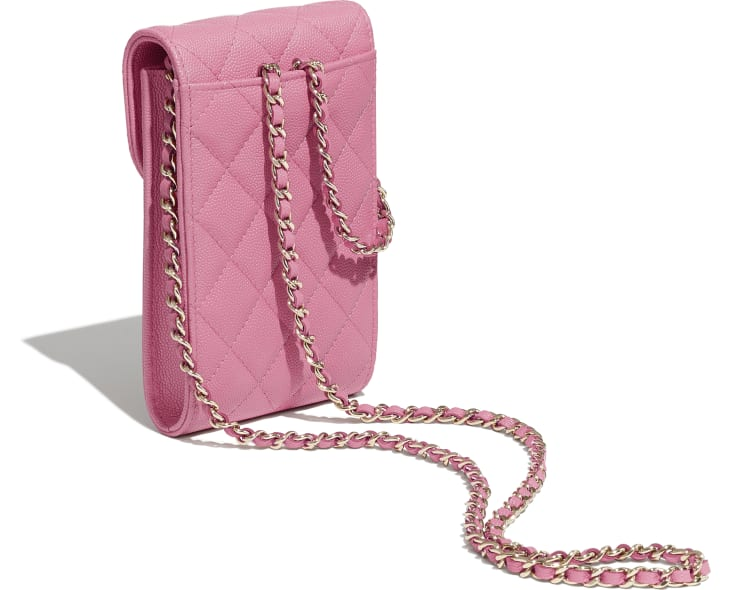 image 4 - Phone Holder with Chain - Grained Calfskin & Gold-Tone Metal - Pink