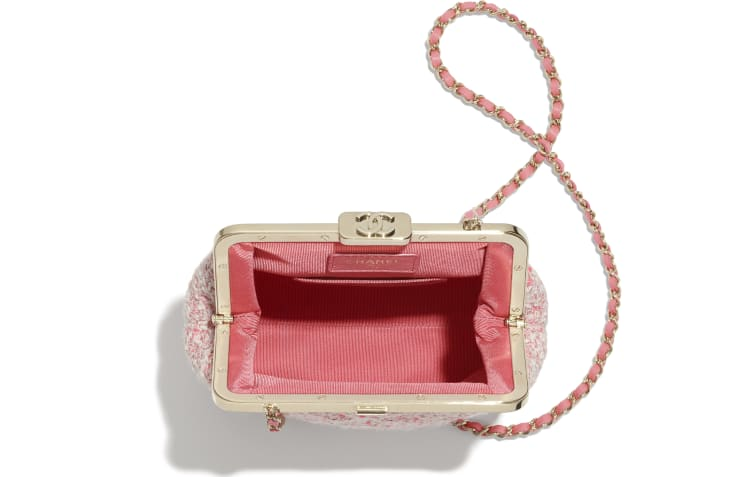 image 2 - Phone Holder with Chain - Tweed & Gold-Tone Metal - Pink, Pale Pink & Ecru