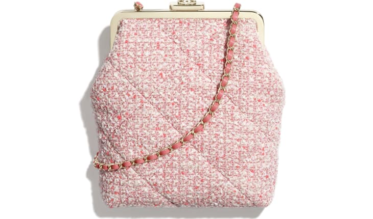 image 1 - Phone Holder with Chain - Tweed & Gold-Tone Metal - Pink, Pale Pink & Ecru