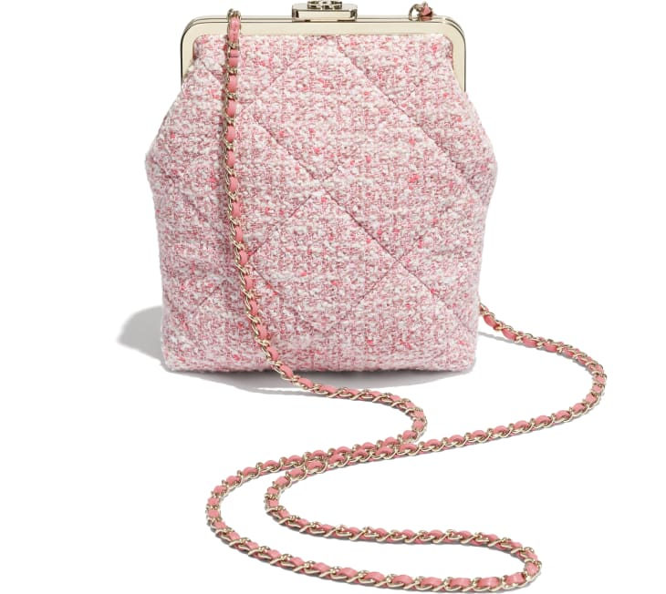 image 4 - Phone Holder with Chain - Tweed & Gold-Tone Metal - Pink, Pale Pink & Ecru
