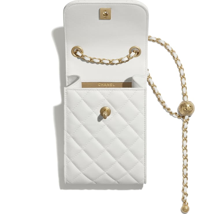 image 2 - Phone Holder with Chain - Lambskin & Gold-Tone Metal - White