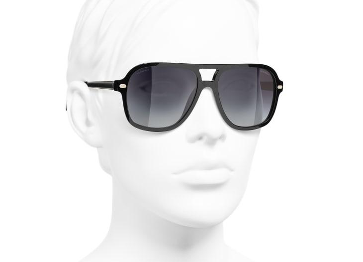 image 6 - Pilot Sunglasses - Acetate & Lambskin - Black & Gold