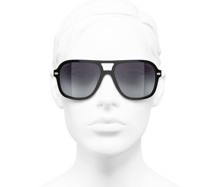 image 5 - Pilot Sunglasses - Acetate & Lambskin - Black & Gold