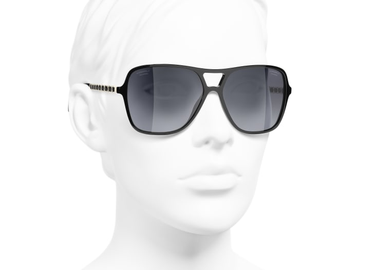 image 6 - Pilot Sunglasses - Metal & Calfskin - Black & Gold