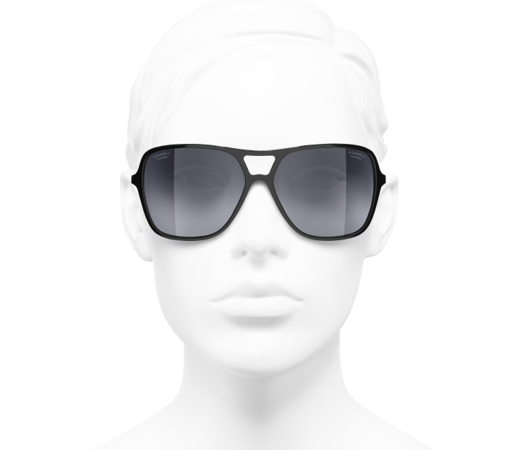 image 5 - Pilot Sunglasses - Metal & Calfskin - Black & Gold