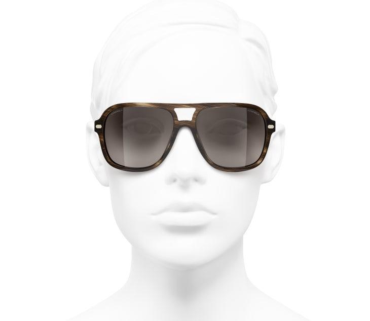 image 5 - Pilot Sunglasses - Acetate & Lambskin - Brown