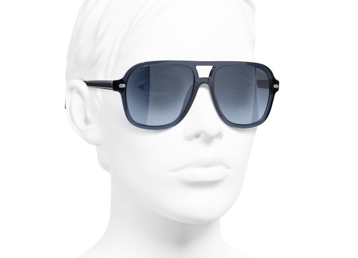 image 6 - Pilot Sunglasses - Acetate & Lambskin - Dark Blue
